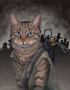 daryldixoncat - San Francisco-based science illustrator Jenny Parks has creatively illustrated an adorable clowder of cats as comic book superheroes, villains and the zombie hunting badass Daryl Dixon from The Walking Dead.