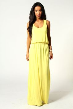 Pin for Later: Perfect Maxi Dresses For Lazy Spring Days  Boohoo yellow racer-back maxi dress (£15)