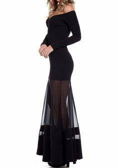 Off-Shoulder Mesh Dress - Mega Stretch Fabric Dress