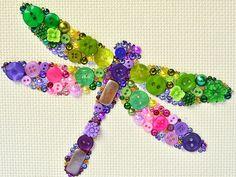 Button Art - Dragonfly - Vintage Button Artwork, Dragonfly Wall Hanging, Home Decor, Dragonfly Wall Decor, Dragonfly Art, Cottage Decor