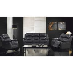 @Overstock - This elegant set upholstered in bold black bonded leather is a perfect fit for any modern great room decor. This set is finished in natural wood tones for a beautiful and artistic contrast.http://www.overstock.com/Home-Garden/3-Piece-Rotunda-Black-Sofa-and-Recliner-Set/6711076/product.html?CID=214117 $1,459.99