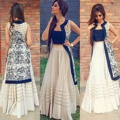 Long skirt with crop top and jacket- Stylish Indo western dress Langer Rock mit bauchfreiem Oberteil Party Wear Indian Dresses, Designer Party Wear Dresses, Indian Gowns Dresses, Indian Fashion Dresses, Dress Indian Style, Indian Designer Outfits, Western Dresses For Party, Indian Skirt And Top, Indian Outfits Modern