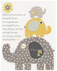 Elephant Nursery Art Decor, Elephant Print, Baby Elephant Nursery Decor, Elephant Wall Art // Before You Were Born // Gray Yellow via Etsy Elephant Nursery Decor, Elephant Wall Art, Nursery Wall Art, Girl Nursery, Elephant Print, Nursery Room, Nursery Ideas, Nursery Grey, Room Ideas