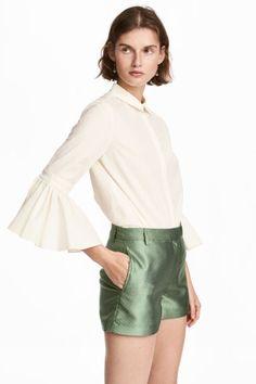 Šortky so žakárovým vzorom - zelená - ŽENY | H&M SK