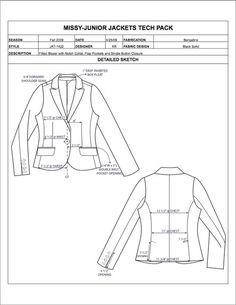 Missy/Junior Design Detail Sheet Sample - Womens, Mens, Childrens  Plus Size Apparel Tech Pack Templates in Excel format - only $29.95!
