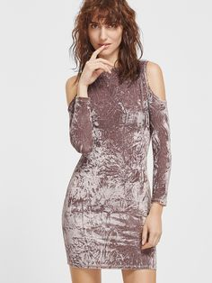 Shop Coffee Cold Shoulder Crushed Velvet Bodycon Dress online. SheIn offers Coffee Cold Shoulder Crushed Velvet Bodycon Dress & more to fit your fashionable needs.