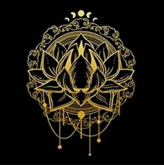 Golden lotus flower on black background Vector illustration Graphic Illustrations, Lotus Flower, Black Backgrounds, Iphone Wallpaper, Deck, Ceiling Lights, Fantasy, Tattoo, Flowers
