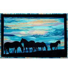 Horse Parade By Black Eyed Susan , Applique Quilt Art, Tim Holtz, Wildlife Quilts, Western Quilts, Cowboy Quilt, Horse Quilt, Textiles, Landscape Art Quilts, Horse Silhouette