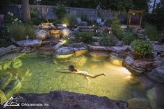 Pretty Backyard Lighting Ideas for Your Pond Waterfall or Fountain # d . - Pretty backyard lighting ideas for your pond waterfall or fountain # design - Swimming Pool Pond, Natural Swimming Ponds, Natural Pond, Backyard Water Feature, Ponds Backyard, Koi Ponds, Natural Backyard Pools, Backyard Waterfalls, Garden Ponds