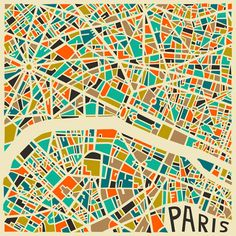 Graphic abstract City Map of Paris created by artist Jazsberry Blue. Paris Kunst, Art Parisien, Plan Paris, Illustration Arte, Art Carte, Abstract City, Blue Abstract, Abstract Print, Paris Map