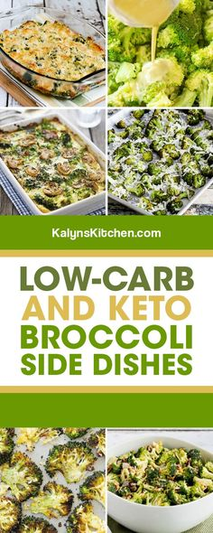 Broccoli is great any time of year, and I've scoured the web to find amazing Low-Carb and Keto Broccoli Side dishes. And I couldn't resist including one classic broccoli salad that's a holiday favorite in my family! [found on KalynsKitchen.com] #BroccoliSideDishes #LowCarbBroccoliRecipes #LowCarbBroccoliSideDishes #LowCarbSideDishes Low Carb Side Dishes, Veggie Side Dishes, Vegetable Dishes, Broccoli Salad, Broccoli Recipes, Vegetable Recipes, Whole Food Recipes, Diet Recipes, Kitchen Recipes