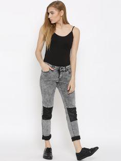 Vero Moda Grey Panelled Washed Slim Jeans @looksgud  #VeroModa,  #Gray, #Stylish