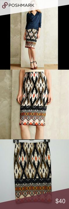Anthropologie Maeve Iguazu Pencil Skirt Anthropologie Iguazu Pencil Skirt by Maeve  The perfect desk-to-dinner piece!  Details: Pull-on styling, curve-hugging, hand wash, made in the USA  Fabric: Polyester, spandex  Style No. 4120069692475 Anthropologie Skirts Pencil