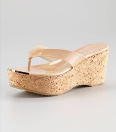 435c8dc8a Jimmy Choo  Pathos  Nude Patent Leather Cork Wedge Sandals Size 39 9  450.00