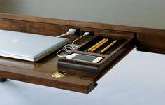 Wired desk!  Love this.  |  woodworkingnetwork.com
