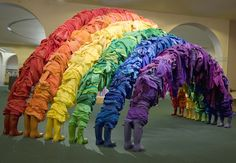 I love this sculpture made of discarded garments.