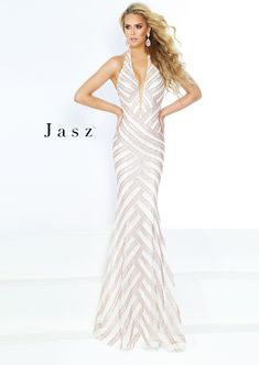 69a8c8509c4 Style 6416 from Jasz Couture is a plunging V neck halter gown with diagonal  beaded stripes