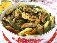 Culorile din farfurie: Salata calda cu fasole, paste si piept de pui
