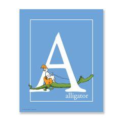 A - Alligator: Blue Dr. Seuss Art Print   Official Seuss Prints