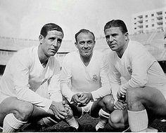 Los jugadores del Madrid Raymond Kopa, Alfredo Di Stéfano, Ferenc Puskas