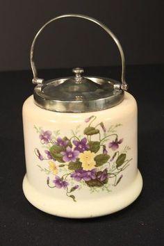 Vintage Biscuit Cracker Jar Bristol England Ceramic EPNS Silver Lid ...