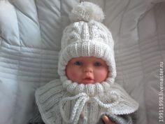 Шапочка-шлем Молочные араны - белый,однотонный,шапка,шапка вязаная,шапка зимняя