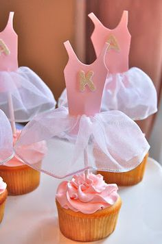Ballet cupcakes with the most amazing tutu cake toppers Ballerina Birthday Parties, Ballerina Party, Little Ballerina, 3rd Birthday Parties, Angelina Ballerina, 2nd Birthday, Tutu Cupcakes, Ballerina Cupcakes, Cupcake Diaries