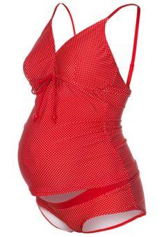 Costume tankini rosso a pois