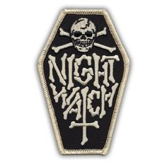We love this Night Watch Logo patch so much that we had to bring it back, and this time with a BONE WHITE accent to really make this COFFIN patch pop!This Black and Bone White patch measures 4 inches in height.