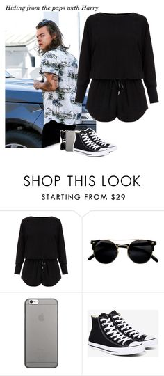 """""""821 • Hiding from the paps with Harry"""" by queenxxbee ❤ liked on Polyvore featuring Helmut Lang, Native Union, Converse, OneDirection and harrystyles"""