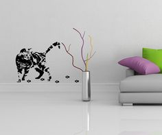 Vinyl Wall Decal Cute Cat Silhouette with Steps by DeliciousDeals