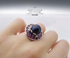 Mysterium Niger Pearl  B.25  Gothic silver ring by TYVODAR on Etsy