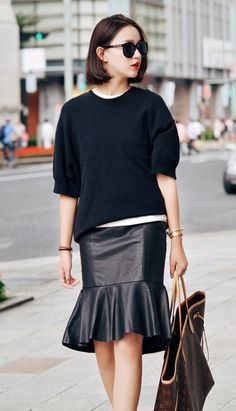 Fashiontroy Street style black high rise fluted PU mini skirt