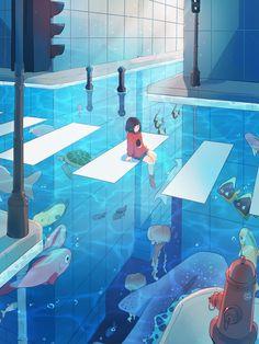 Animes Wallpapers, Cute Wallpapers, Pretty Art, Cute Art, Aesthetic Art, Aesthetic Anime, Blue Anime, Fantasy Art Landscapes, Japon Illustration