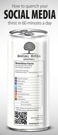 How to quench your Social Media thirst in 60 minutes a day. #SocialMediaMarketing #Infographics