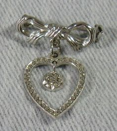 Vintage Dainty Sterling Silver Marcasite Dangling Heart Bow Brooch Pin Rhodium Marcasite Jewelry, Fool Gold, Art Nouveau Jewelry, Brooch Pin, Jewelry Design, Valentines, Bows, Personalized Items, Sterling Silver