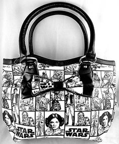 Star Wars Checkered Character Pattern Tote Handbag / Purse w/Bow