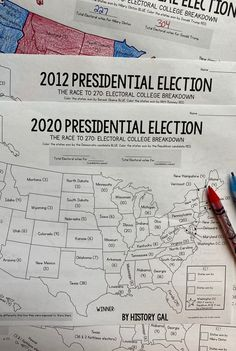 Electoral College Map Activities for and 2020 Presidential Elections History Classroom, Teaching History, Political Science, Social Science, Electoral College Map, Presidental Election, Teaching Government, Us Presidential Elections