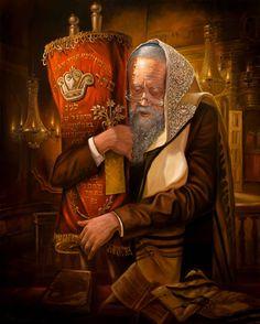 Praying the Torah - Alex Levin. Oil on Canvas