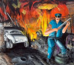 Invasion, 2015, 80x90cm, Acryl auf Leinwand
