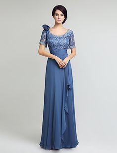 Gelin elbise kılıf / sütun anne diz boyu kısa kollu şifon dantel dantel ile 5664187 2017 – $161.99
