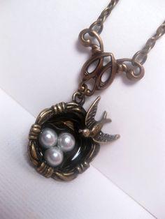 Nest Of Birds Pearl Necklace by FashionCrashJewelry