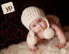 Knit Crochet Baby Hat Cream Pom Pom Earflap by OopsIKnitItAgain, $22.00