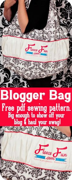 How to make a blogger bag. Make a bag with your blog logo. Huge bag is perfect for hauling swag and stacks of business cards. Free pdf pattern and tutoiral. Easy Sewing Patterns, Purse Patterns, Sewing Tutorials, Sewing Projects, Fleece Projects, Tutorial Sewing, Sewing Tips, Sewing Ideas, Craft Projects For Adults