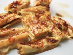 Beancurd Sticks Broiled with Soy Sauce, Ginger, and Honey
