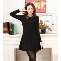 Black Sequined Peter Pan Collar Long Sleeve Dress