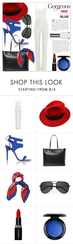 """""""Red, White & Blue"""" by ivansyd ❤ liked on Polyvore featuring Galvan, WithChic, Miss Selfridge, Tom Ford, Yves Saint Laurent, Smashbox, MAC Cosmetics, Topshop, redwhiteandblue and fourthofjuly"""