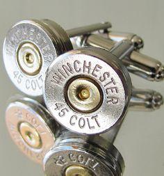 45 Colt WINCHESTER Mens Bullet Cufflinks Camo Country Wedding Grooms Dress Gift…