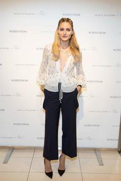 Olivia Palermo wearing Olivia Palermo + Chelsea28 Tie Neck Peplum Silk Top