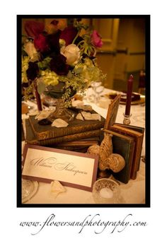William Shakespeare creative wedding table number idea